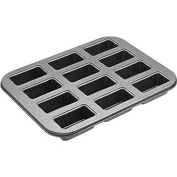 MasterClass 12-Hole Non-Stick Mini Loaf Tin / Cake Pan With Loose Bases, 35.5 x 27 cm
