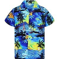 V.H.O. Funky Hawaiian Shirt   Men   XS-12XL   Short-Sleeve   Front-Pocket   Hawaiian-Print   Surf Palms Summer…