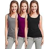 Fashion Line Tank Tops for Women's/Girls/Ladies westernwear Combo Set (Grey, Dark Purple & Black, Pack of 3)