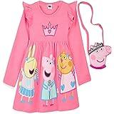 Peppa Pig Vestido, Vestidos Niña con Estampados de Peppa, Ropa Niña 100% Algodon, Vestidos Manga Corta y Manga Larga, Regalos