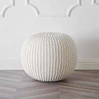 AIESY® - Make Your Home Bright | 100% Cotton Hand Knitted Pouf Ottoman, Foot Stool for Home Decor of Bedroom, Hall…