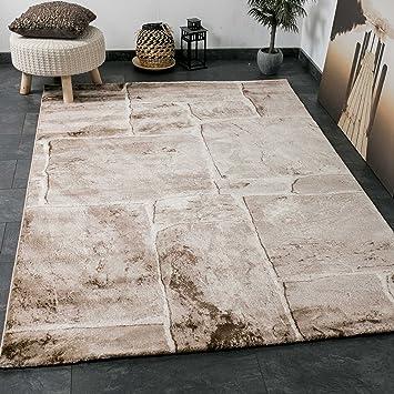Wohnzimmer Teppich In Beige Braun Stein Mauer Optik Klassisch Sehr Dicht Gewebt Top Qualitt VIMODA Masse 80x150 Amazonde Kche Haushalt