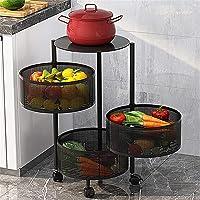 EUNEWR 3/4/5 Niveaux Support à Légumes Rotatif de Cuisine,panier a legumes sur roulettes rond,support de rangement de…