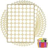1.050 x Witte Sticky Dots - 19mm - Ronde Kleurcodering Dot Stickers - 15 Vellen