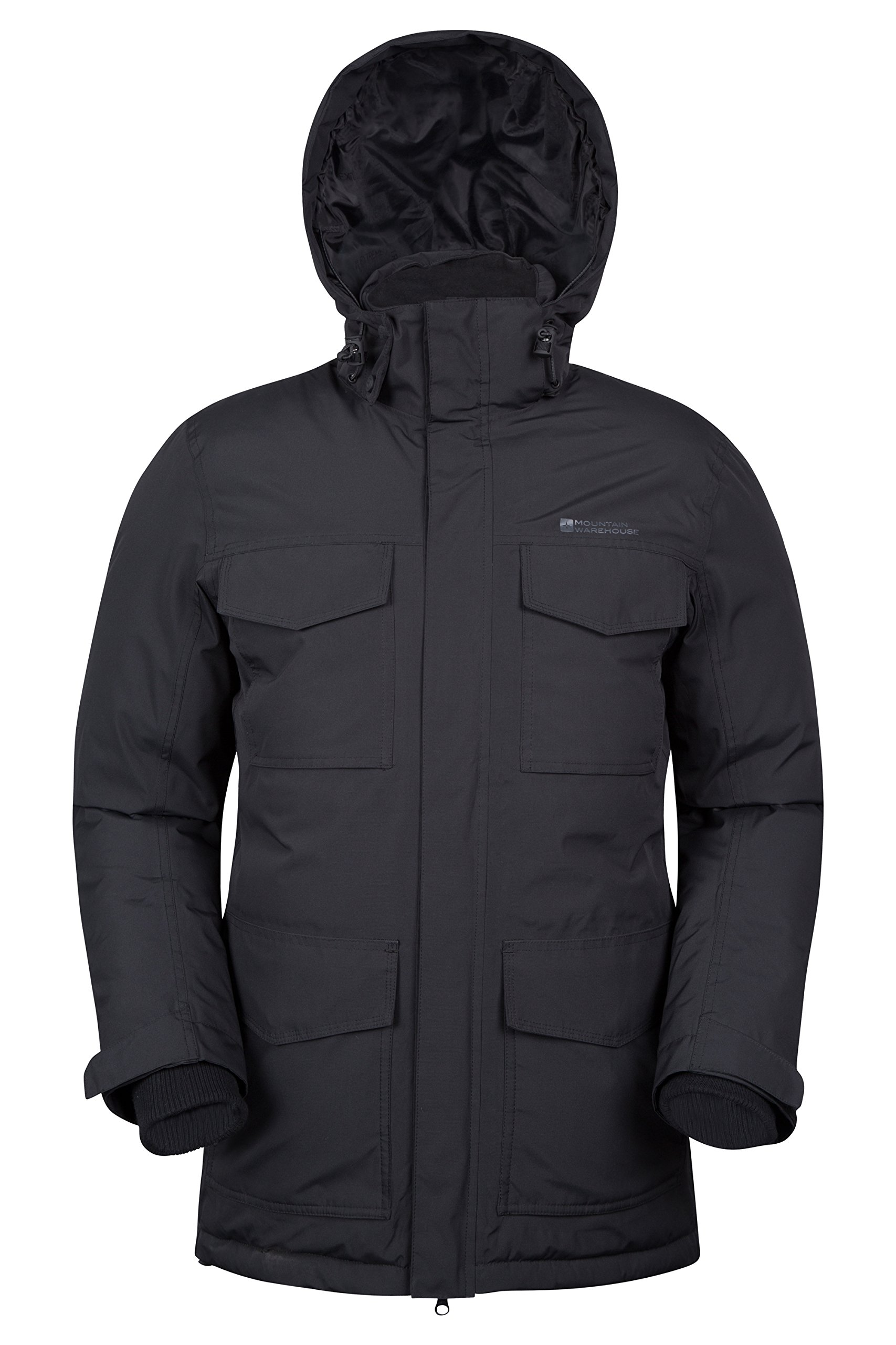 Mountain Warehouse Concord Extreme Mens Down Long Jacket – Taped Seams, Waterproof, Detachable Hoodie, 4 Pockets Perfect…