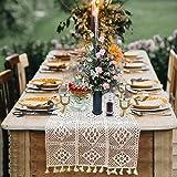Chemin de table tissu en macramé beige nappe en dentelle au crochet en coton à mailles creuses, style bohème, napperon à brod