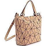 Tikea Geometrische Handtaschen - Umhängetasche Fashion Leuchtende Henkeltasche für Damen Kunstleder Damenhandtasche Luminous