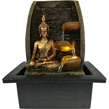 Golden Buddha with Water Cups and LED Light Indoor Water Fountain 21cm x 18cm x 25cm