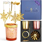 SCENTORINI Rotating Candlestick with Scented Candles Gift Set, Snowflake Gold Christmas Rotating Candlestick, Christmas Carou