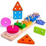 rolimate Giocattoli Forme Geometriche Impilatore Bambini Blocchi Costruzioni Legno Mattoncini Legno Bambini Giochi di…