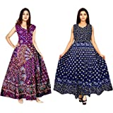 New Krishna Fashions Women's Maxi Dress (Pack of 2) (FK_1739_Multicolored_Free Size)