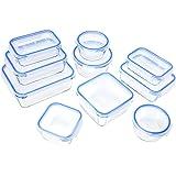 AmazonBasics - Recipientes de cristal para alimentos, con cierre 20 piezas (10 envases + 10 tapas), sin BPA