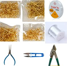 Am Jewellery Making Diy Essential Combo Set (9 Items)- Includes Beading Wires, Tools, Findings, Craft Cutter