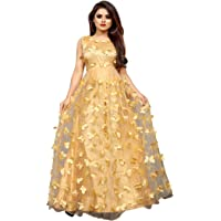 JULEE Women's Net Embroidery Semi-Stitched Gown-12121