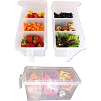 Samplus Mall Pack of Refrigerator Organizer Container Square Handle Food Storage Organizer Boxes - Clear with Lid, Handle and 3 Smaller Bins (3)
