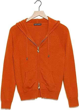 State Cashmere Maglia con Cappuccio e Zipper Completa Donne in Puro Cashmere 100%