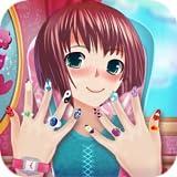 salón de uñas chica anime : Manicura  uñas juego polaco
