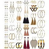 Milacolato 54Pairs Set Orecchini Donna Multipli Assortiti per le Donne Ragazze Colorato Acrilico Bohemien Nappa Grande Cerchi