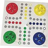 Raus hier! Enorme Ludo, groot speelplan + grote speelfiguren (maat L, kleur rood-geel-blauw-groen). Bordspel voor senioren, s