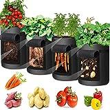 Potatisodlingspåsar, grönsak odling väska andningsbar ovävt tyg trädgård odling väska med handtag och tillgångsklaff för pota