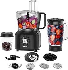 BESTEK 800W 3-in-1 Design Küchenmaschine Zerkleinerer Food Processor Standmixer mit Kaffeemühle, Mixer mit Knethaken, Häcksler, Reibe & Emulgierscheibe Schwarz