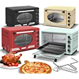 Turbotronic Mini four rétro avec chaleur tournante 45 l Noir Rouge Bleu Beige 2000 W Mini four Four à pizza Barbecue (Rouge)