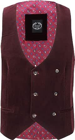 Xposed Mens Soft Corduroy Blazer Coat Vintage Retro Tailored Waistcoat UK[WC-MATTHEW-MAROON-36,Waistcoat-Maroon,Chest UK/US 36 EU 46]