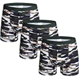 Nuofengkudu Men Camo Button Fly Long Sports Boxer Shorts Cotton 3 Pack