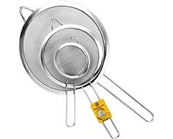 Jojeys Sieves Strainers Set - Metal Sieve Stainless Steel, Fine Mesh Strainer - Kitchen Sieve Fine Mesh, Sive Cooking, Flour