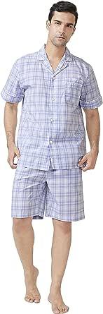 DAVID ARCHY Men's Pyjamas Short Set, Cotton PJS for Mens Nightwear, Short Sleeve Loungewear and Shorts