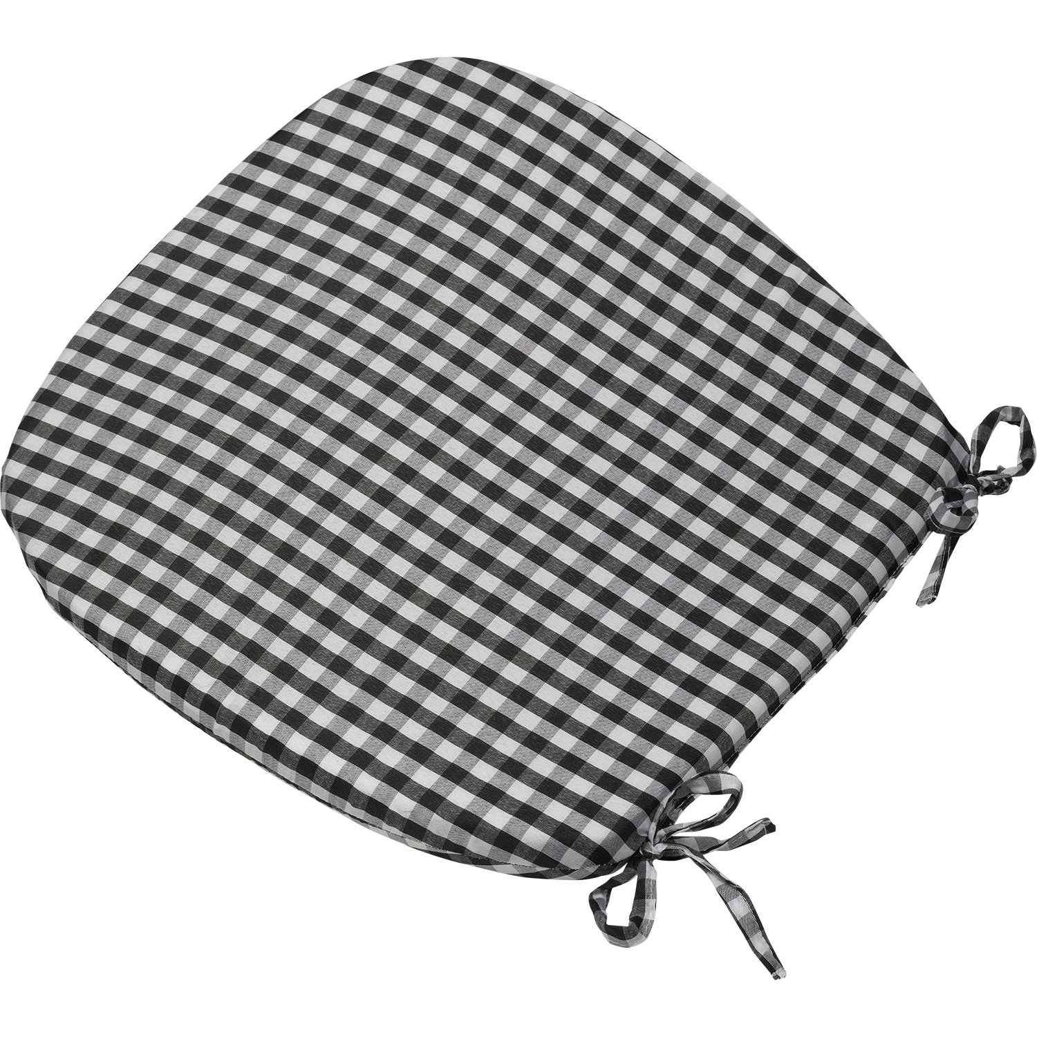 gingham check round seat pad outdoor garden dining kitchen chair