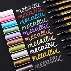 Metallic Marker Pens, Metallischen Stift Marker, Satz von 10 Farben für Kartenherstellung DIY Fotoalbum Gebrauch Steinmalerei, Arbeit auf irgendeiner Oberfläche-Papier Glas Kunststoff Keramik