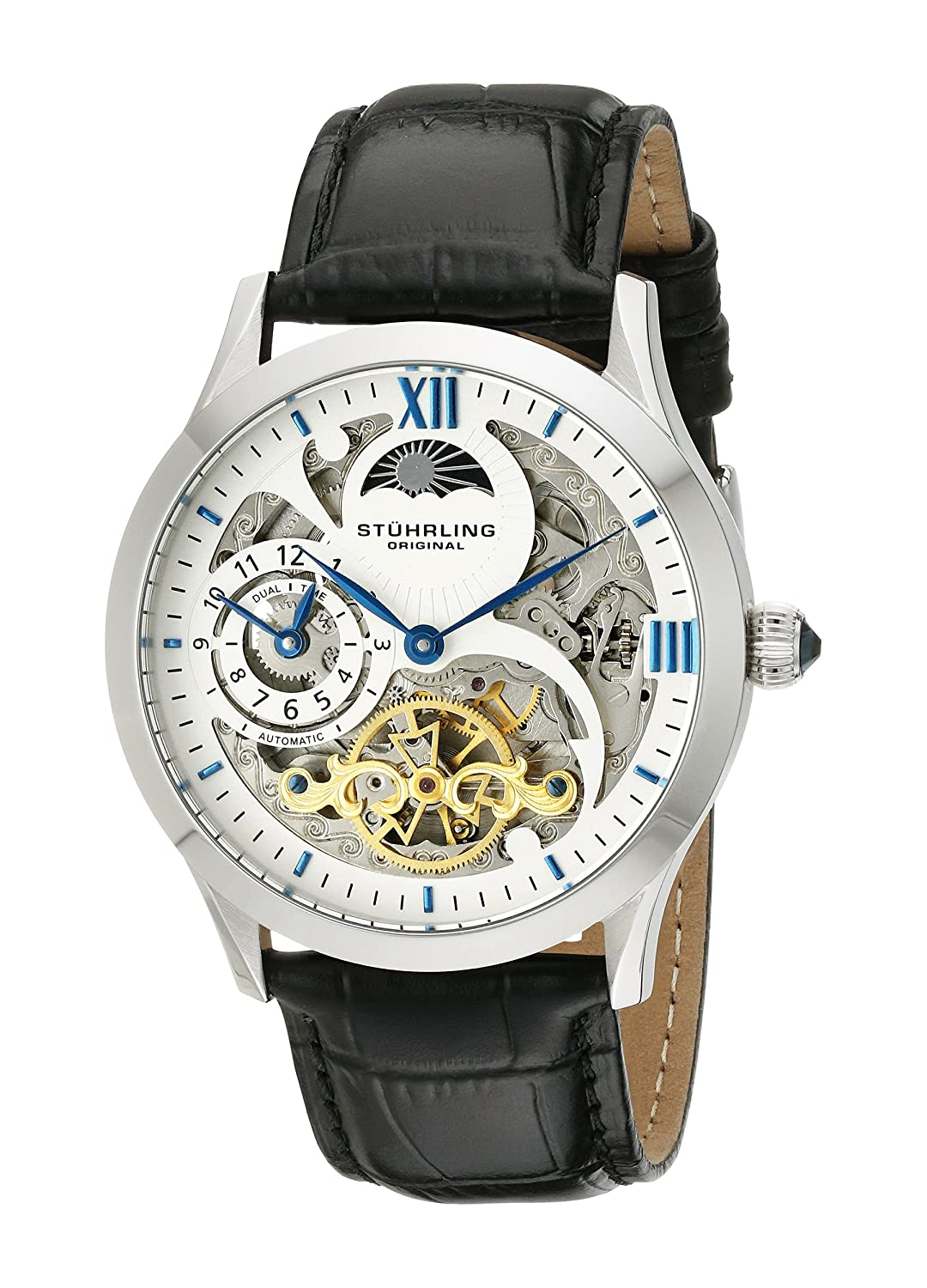 stuhrling original classic winchester tempest ii men s automatic stuhrling original classic winchester tempest ii men s automatic watch black dial analogue display and black leather strap 571 33151 amazon co uk