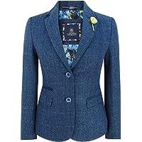 House Of Cavani Women Navy Blue Blazer Tweed Check 1920's Blinders Tailored Fit Vintage