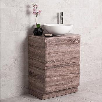 Waschbecken rund mit unterschrank  Amazon.de: Design Badezimmer 600mm Waschtisch Unterschrank Eiche ...