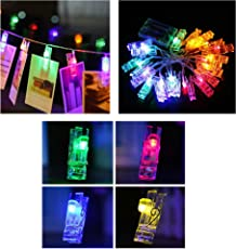 LED Clips Remote String Lights| TANGO FORTUNE 10 Clips LEDs Battery Operated Multi String Lights| 5 Feet Multi