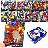 RULY Cartes Pokemon GX V Vmax, Cartes à Collectionner Pokémon, Jeu de Cartes de Bataille interactif, Cadeau enfant-60Pcs (18
