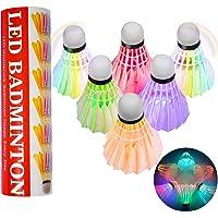 Odosalii LED Badminton 6 Stücke Federbälle Lighting Shuttlecock Bunt Beleuchtung Bälle Federball Beleuchtung Birdies…