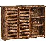 VASAGLE Meuble de rangement, Buffet, avec placard 2 portes persiennes, étagères réglables, 3 compartiments ouverts, pour sall