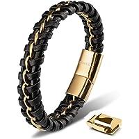 SERASAR | Premium Echtlederarmband für Männer in Schwarz | Magnetverschluss aus Edelstahl in Schwarz, Silber & Gold…