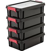 Iris Ohyama, Lot de 4 Boîtes de Rangement Empilables avec Couvercle - Multi Box - MBX-4, Plastique, Noir/Rouge…