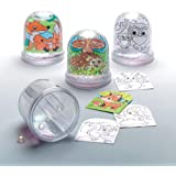 Baker Ross AR618 Woodland Animal Colour-in Snow Globes Value Pack — Creative Art and Craft Supplies for Kids to Make, Personalise and Decorate (Pack of 4), Assorted