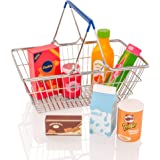 Milly & Ted Metal Shopping Basket & Wooden Play Food Set - Childrens Pretend Roleplay Toy Playset
