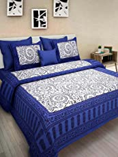 Cally 100% Pure Cotton Supreme Quality King Size Double Bedsheet with 2 Zippered Pillow Covers