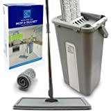 Flat Floor Mop and Bucket Set, Easy Squeeze Mop Bucket with Microfibre Mop Pads for All Floors Types
