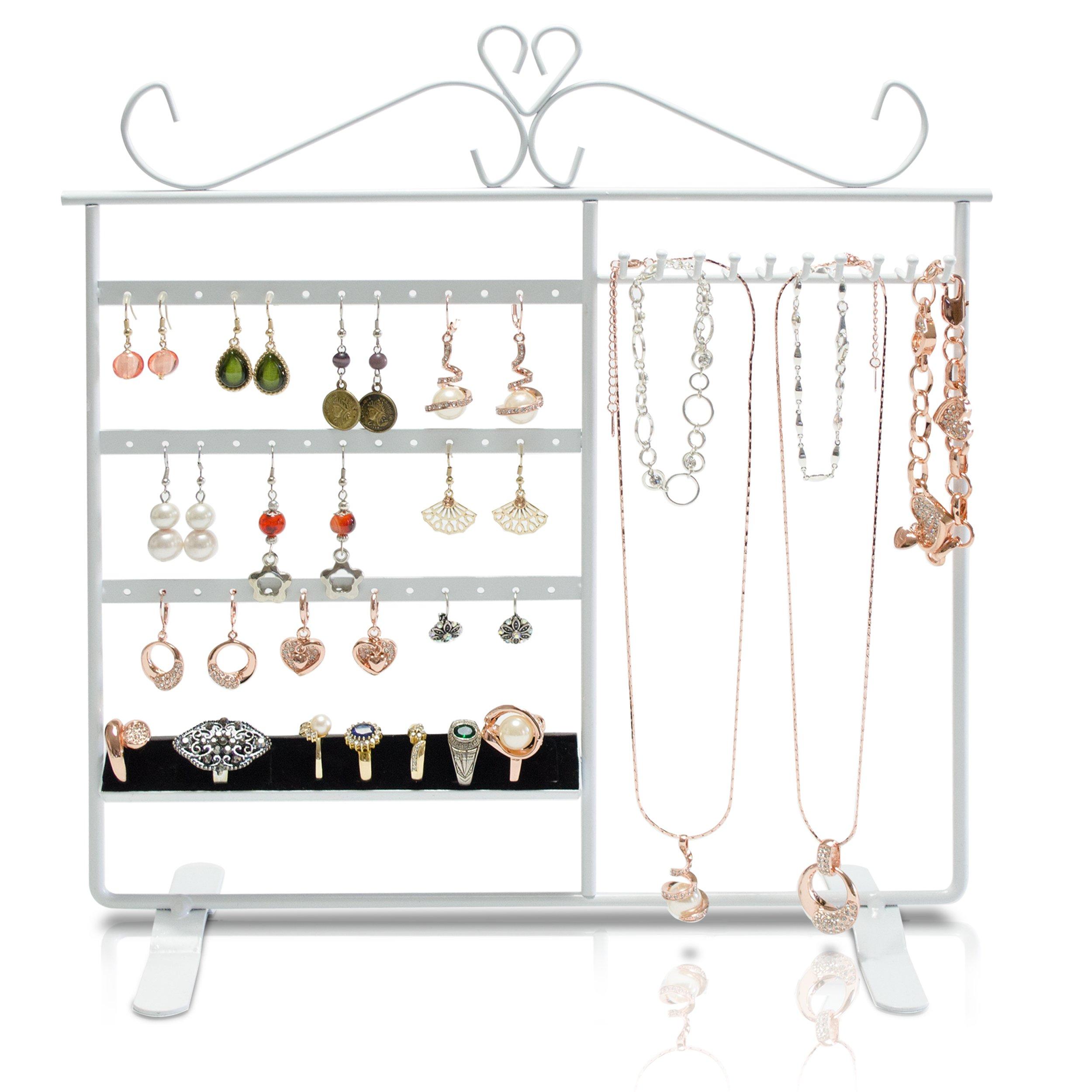 Schmuckständer mit 4 Etagen - Weiß 33 x 31 x 10 cm - Ohrring Schmuckhalter Aufbewahrung und Präsentation - Grinscard