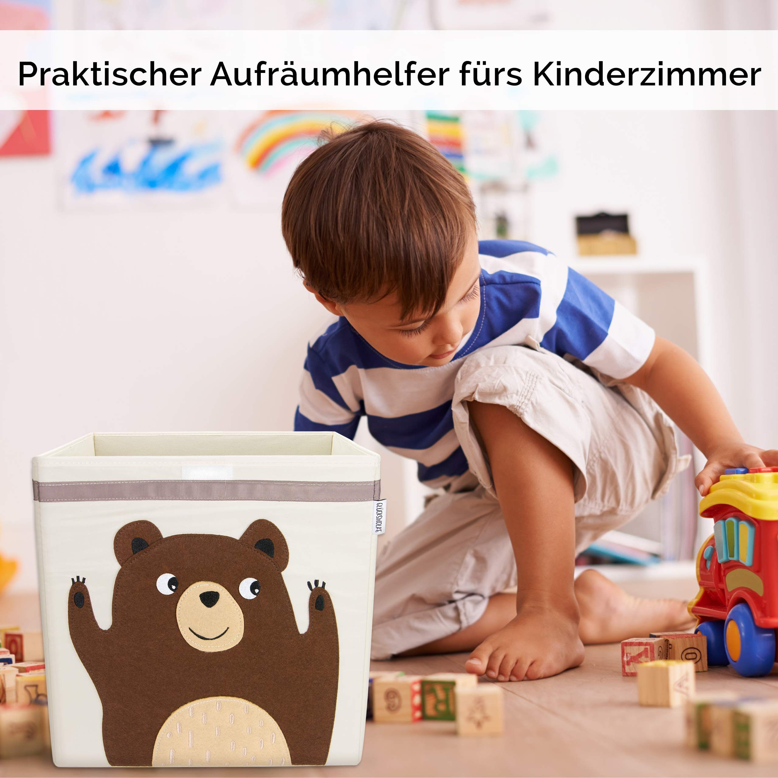 Gluckswolke Aufbewahrungsbox Fur Kinderzimmer I Praktische Spielzeug Kiste Mit Deckel Und Griffen I Spielzeug Box 33x33x33 Zur Aufbewahrung Im