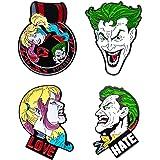 DC Comics - Set di 4 spille da bavero unisex per adulti Joker e Harley Quinn, colore: Multicolore