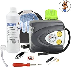 Elastofit Reifenpannenset Prime Plus Kompressor mit LED/Blink/SOS Licht/Warnweste/Taschenlampe
