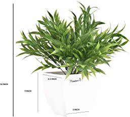 Planters Artificial Bamboo Plants & White Pearl Pot